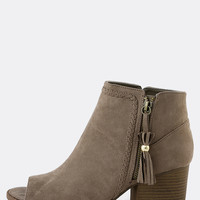 Braided Tassel Ankle Booties TAUPE | MakeMeChic.COM