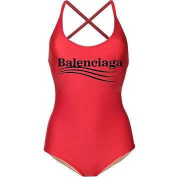 Balenciaga Hot Sale Women Sexy Letter Print One Piece Bikini Swimsuit Bodysuit Red