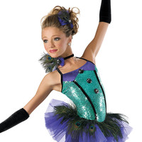 Sequin Peacock Skirt Biketard-Weissman Costumes
