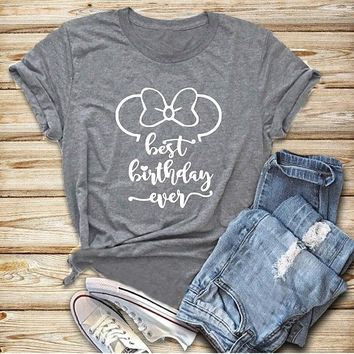 Summer Short Sleeve Mouse Hot Clothing T-Shirt Mouse Best Brithday ever Tee Gray Hipster Tumblr Popular Grunge Tops Lovers shirt