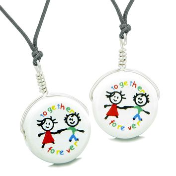Love Couples or Best Friends Together Forever Set Cute Ceramic Lucky Charm Amulet Adjustable Necklaces