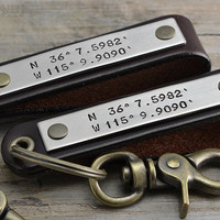 Long Distance Friendship Gift Idea - Two Leather Coordinates KeyChains - Mens Accessories, BROWN LEATHER