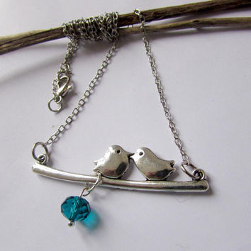 Two Birds sitting on a branch Necklace, Love birds on a branch, Antique Silver plated Bird necklace