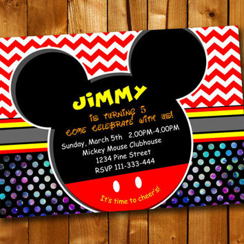 Mickey Mouse Colorful, Birthday Invitation, Birthday Party for little boy and little girl