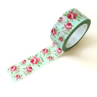 Mint Aqua & Red Rose Floral Washi Tape