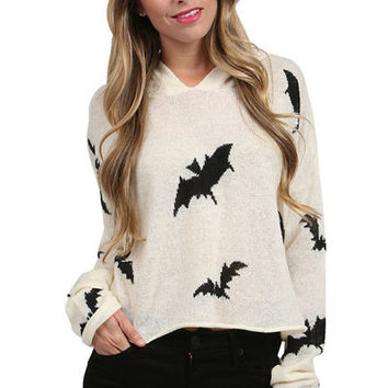 Bat Pattern Hooded Sweater