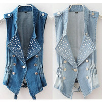 Fashion Womens Lady Girl Casual Sleeveless Beads Denim Vest  Punk Coat Western Rivet Ladies Jean Waistcoat Jacket Outerwear = 1930074116