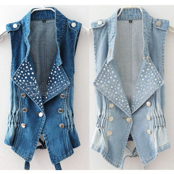 d0b2f3aaa391e Fashion Womens Lady Girl Casual Sleeveless Beads Denim Vest Pun. Outerwear