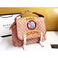 GUCCI stylish casual bag for men and women printed skull and crossbones labeled postman clamshell backpack