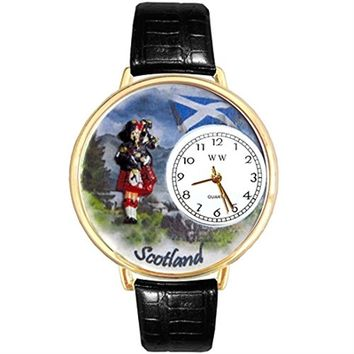 SheilaShrubs.com: Unisex Scotland Black Skin Leather Watch G-1420003 by Whimsical Watches: Watches
