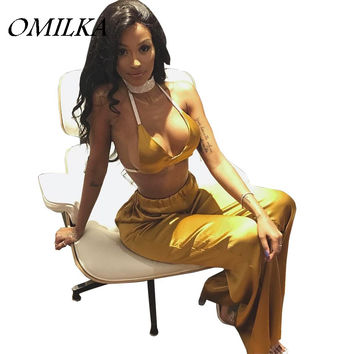 OMILKA 2017 Hot Summer Women Halter Backless Crop Top and Pant Sets Fashion Sexy Yellow Shiny Satin Club Party 2 Piece Set