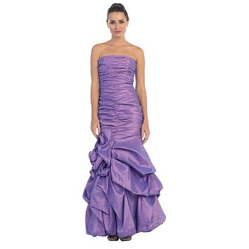 Elegant Dress Mermaid Floor Length Formal Lavender Gown Strapless Ruched