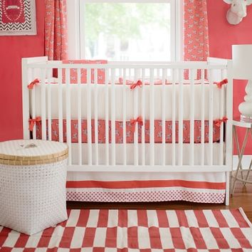 New Arrivals Zebra Parade in Coral Baby Bedding