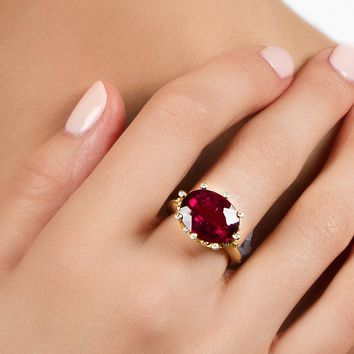 Suzy Landa Rubellite and Diamond 18k yg Ring