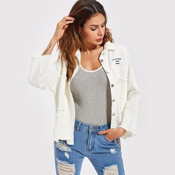 Patch Back Distressed Jeans Jacket