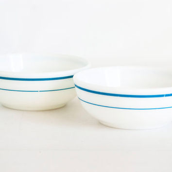 Vintage Pyrex Corning Blue Band Chili Bowls, SET of 2 Turquoise Blue Stripe Deep Bowls, Restaurant Ware Tableware