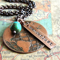 Wanderlust World Necklace, Etched Copper, Travel Necklace, Map, Globe, Roam, Adventure, World Travel, On the Road, Journey