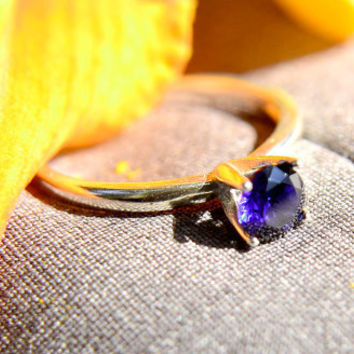 Sapphire Ring in Sterling Silver with High Polish, September Birthstone, Silver Cocktail Ring with Sapphire Gemstone
