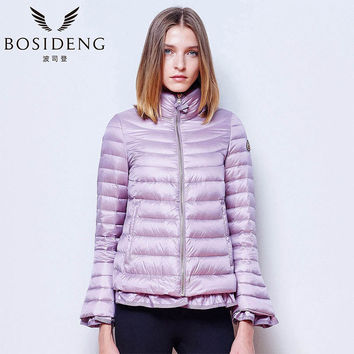 BOSIDENG Women fashion thin down coat sweet coat top coat clothing jacket outwear ladies's Clothing ruched ultra light B1501032