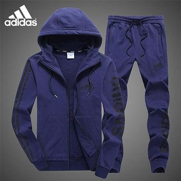 ADIDAS autumn and winter plus velvet warm casual running sportswear two-piece Blue