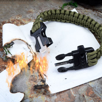 Outdoor Survival Bracelet Outdoor Scraper Whistle Fire Starter Gear