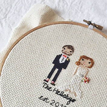 Custom Cross Stitch Wedding Portrait 2 Characters Personalized Newlywed Gift Unique Cotton Second Anniversary Pixel Art  by stitchingood