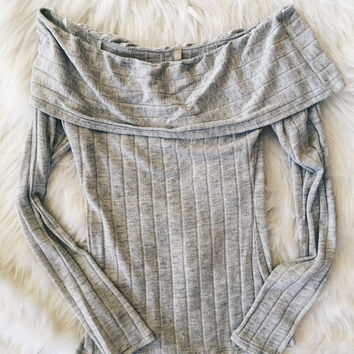 Gray Ribbed Off The Shoulder Top