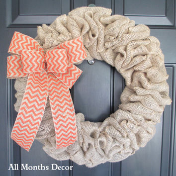 Burlap Wreath with Orange Chevron Burlap Bow, Country, Fall Autumn Winter, Halloween, Thanksgiving, Year Round, Porch Door Decor