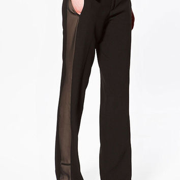 Black Illusion Sheer Side Plain Palazzo Pants