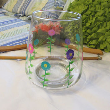Hand Painted Spring Flower Clear Glass Flower Vase - Pink, Aqua, and Purple Flowers
