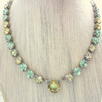 Swarovski crystal necklace, 8mm, luminous green and yellow with large central pendant, Siggy choker, designer inspired