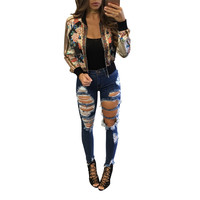 Black Floral Print Zipped Jacket