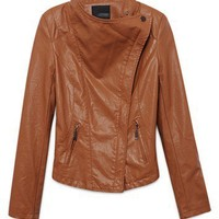 Women Double Zips Leather  Coat Slim-Fitting High Waist Long Sleeve Brown Lapel Outfit M/L@MF11807br