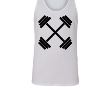Gym Crossed Dumbbell Barbell Weight Athletics - Unisex Tank