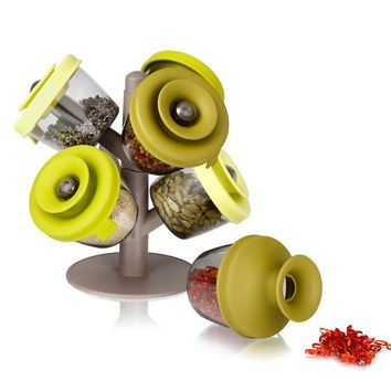 Lovely Multifunctional Electric Green Feather Pop up spice rack.