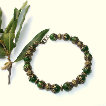 Jade bracelet green bracelet with antiqued bronze accents