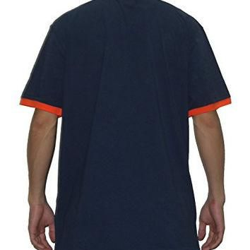 Mens MLB Detroit Tigers Athletic V-Neck Baseball Polo Shirt M Dark Blue
