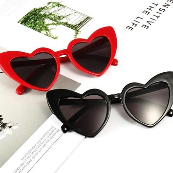 Womens Retro Punk Cat Eye Heart Shaped Black Pink Red Plastic Frame Sunglasses