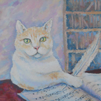 Wise Cat Musician Original Oil Painting Impasto Palette knife Pastel color Pet Portrait Abstract Animal Picture Russian Artwork Still Life