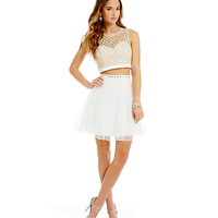 Sequin Hearts Scalloped Lace Two-Piece Party Dress | Dillards