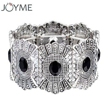 Joyme design retro elastic strand charm bracelet tibetan silver plated wide cuff bracelet & bangle for women vintage boho style