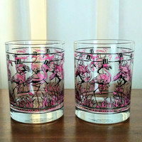 Flamingo Glasses, Hilton Laughlin Hotel Nevada, Set of 2 Casino Tumblers, Man Cave Barware, Vintage Las Vegas Hotel Collectible