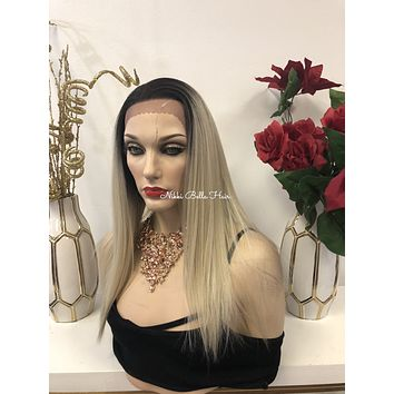 White Blonde Ombre 16 Inches Lace Front Swiss 13 x 2 Multi Part Wig   1118 10