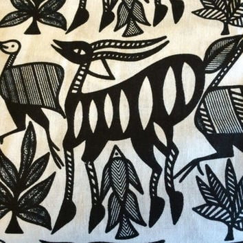African KORHOGO Print Fabric by the HALF YARD--Black and White Wildlife Pattern--Made in Mali