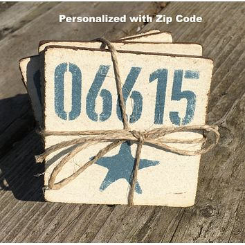 Personalized Handcrafted Rustic Wood Starfish Coaster Set of 4