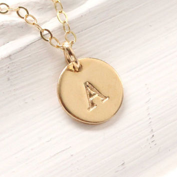 Gold initial necklace - gold filled necklace - stamped letter - tiny initial necklace - handmade hand stamped gold initial pendant