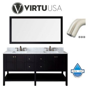 "Winterfell 72"" Double Bathroom Vanity in Espresso with Marble Top and Square Sink with Brushed Nickel Faucet and Mirror"
