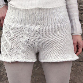 SALE Sweater Shorts & Leg Warmers in White Cotton Upcycled Cable Knit Womens Small to Medium