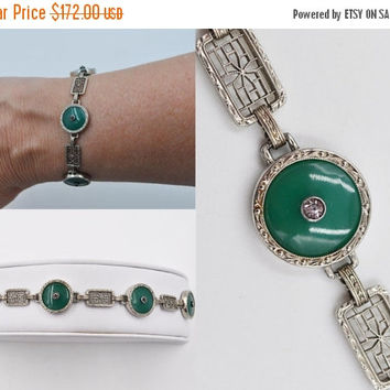 ON SALE Vintage Krementz Art Deco Sterling Silver Filigree Link Bracelet, Peking Glass, Rhinestone, Jade Green, Round, Exquisite! #b545