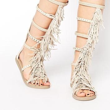 ALDO Tharesa Leather Fringe Gladiator Knee Flat Sandals